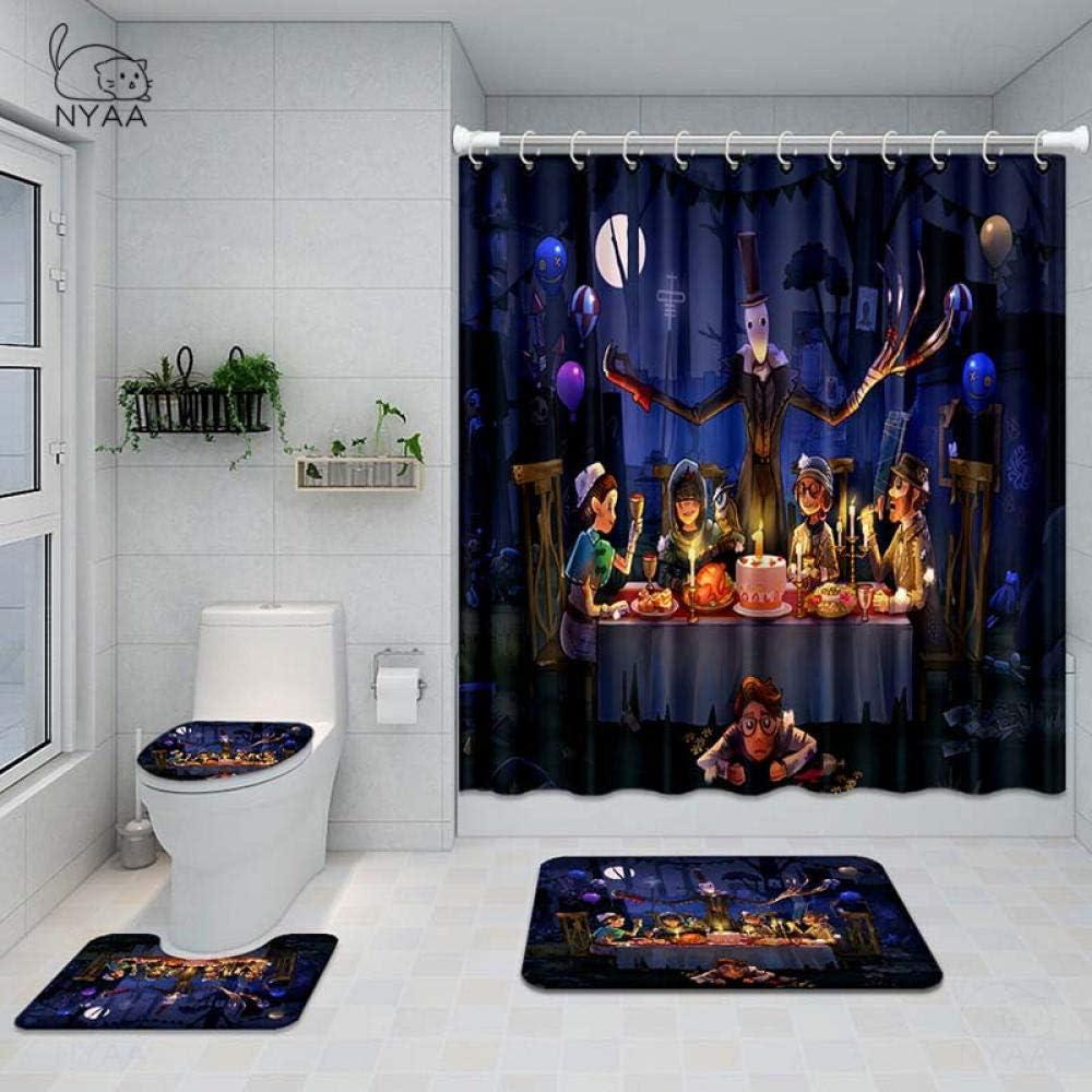 Shower Curtain Washable,4 Pcs Identity V Shower Curtain Pedestal Rug Lid Toilet Cover Mat Bath Mat Set for Bathroom Decor@NY74380