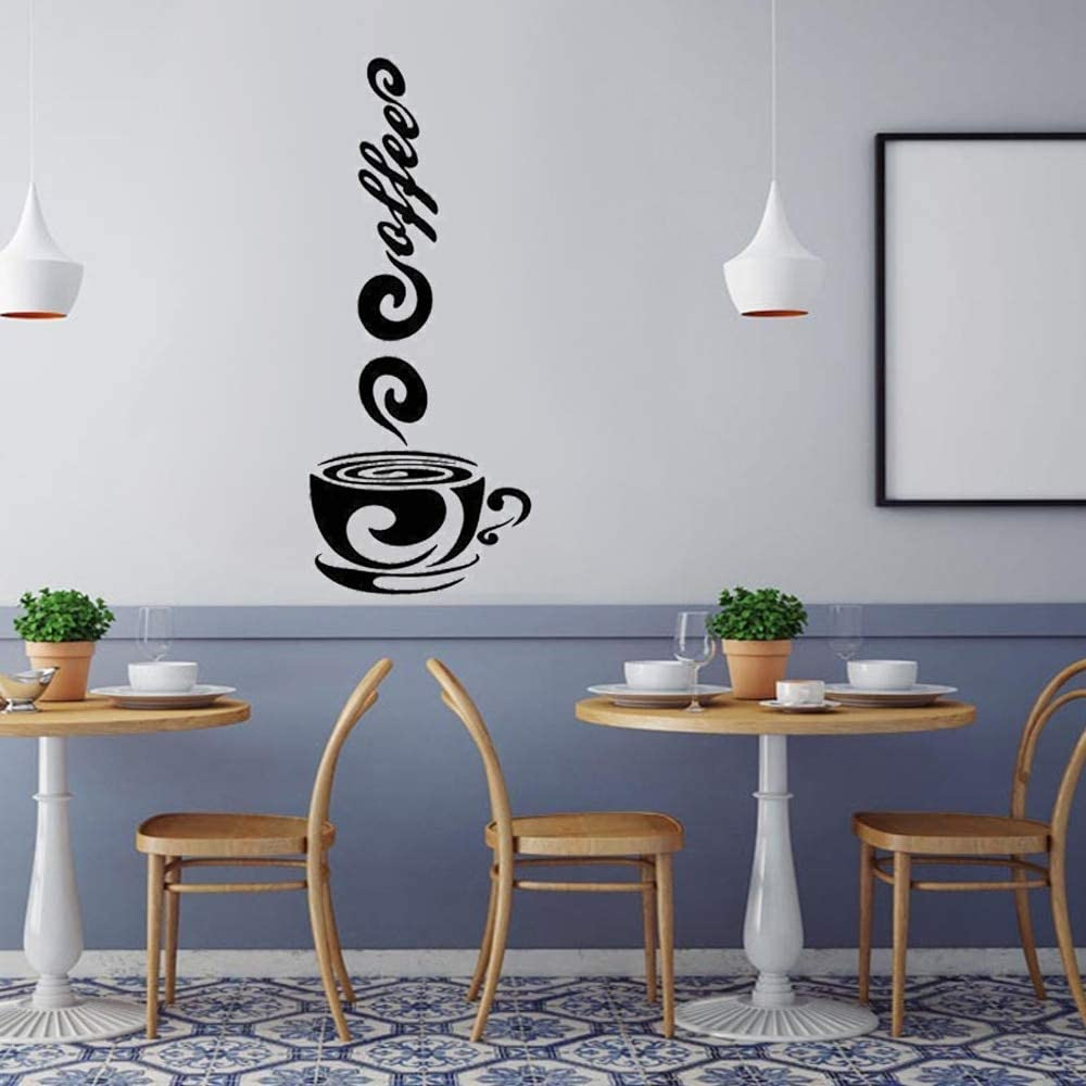 Creative Coffee Mug Cup Wall Stickers for Cafe Coffee Shop