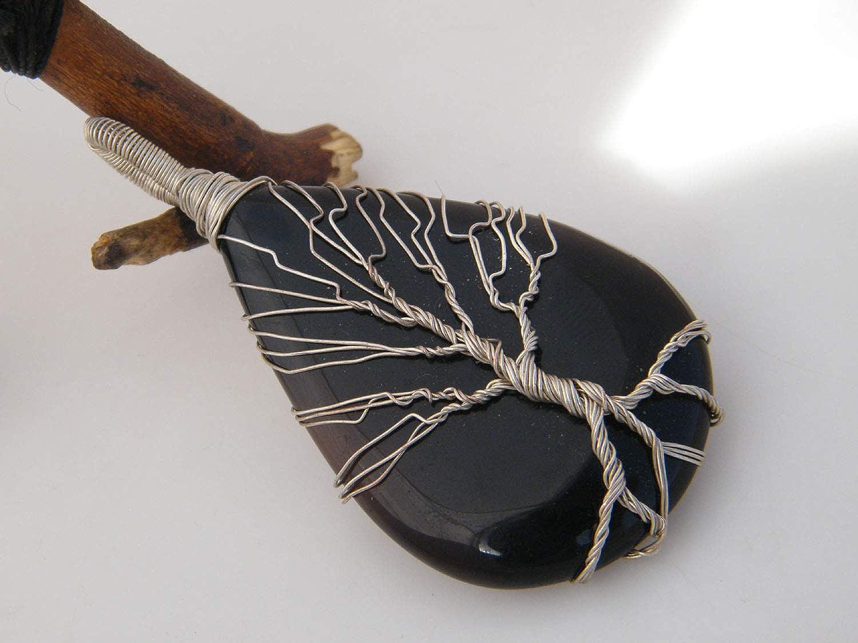 Designer Handmade Pendant Tree of Life Pendant LA-3728 Silver Wire Wrapped Pendant Thebestjewellery Black Onyx Pendant