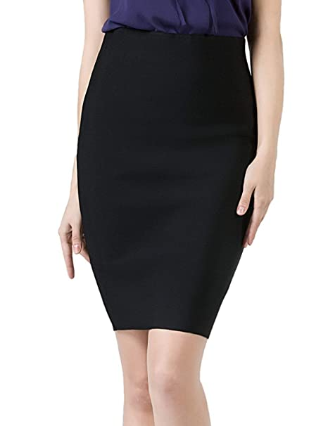 79c54fd20a Amazon.com: DILANNI Women Elastic Waist Band Stretchy High Waist Slim Fit  Office Pencil Skirt: Clothing