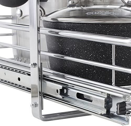 """Household Essentials C21521-1 Glidez Dual 2-Tier Sliding Cabinet Organizer, 14.5"""" Wide, Chrome    This sliding under cabinet organizer has 2 independently sliding tiers and is 14.5""""W x 21""""D x 15.5""""H. Household Essentials glidez dual slide under cabinet sliding organizers attach to the bottom of kitchen and bathroom cabinets to quickly bring the back of the cabinet in reach. Their 2-tier of baskets slide in and out of the cabinet independently, making the bottom basket easier than ever to get into. These industrial organizers are made from premium chromed steel, with thicker, stronger wire than the competition. The sturdy vertical glides 2 inches tall and support up to 88 lbs. Glidez organizers create a custom kitchen with organization that fits your cabinets' width, depth, and height. Organizers slide all the way out of the cabinet, clearing the door completely when installed as directed. This means less bending and reaching to get to whatever you store in your cabinets. Perfect for kitchen storage, bathroom, storage, and even closets and pantries (glidez organizers can attach to commercial shelving with cb2000-6 brackets, sold separately) tailor your cabinet space and bring the back of the cabinet to you with glidez under cabinet storage and organization. Dual slide glidez under cabinet organizers are 15.5 inches high and 21 inches deep. They are available in 11.5 and 14.5 inch wide options."""