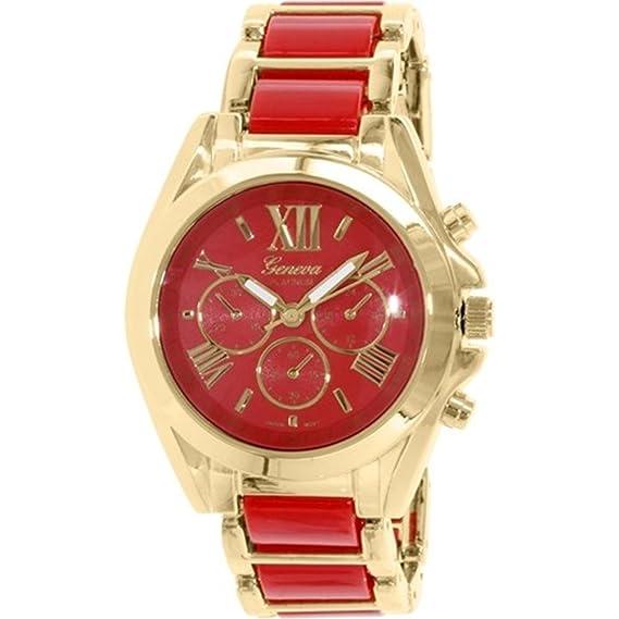 Rojo Oro números romanos reloj Designer Fashion mujeres ginebra novio w/ perfume