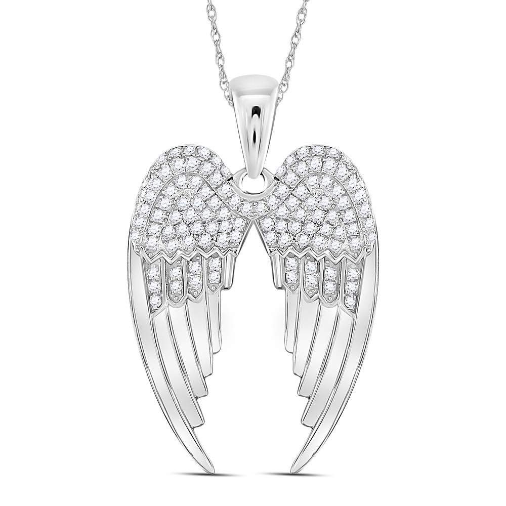 Diamond Angel Wings Pendant 3//8ct 925 Sterling Silver