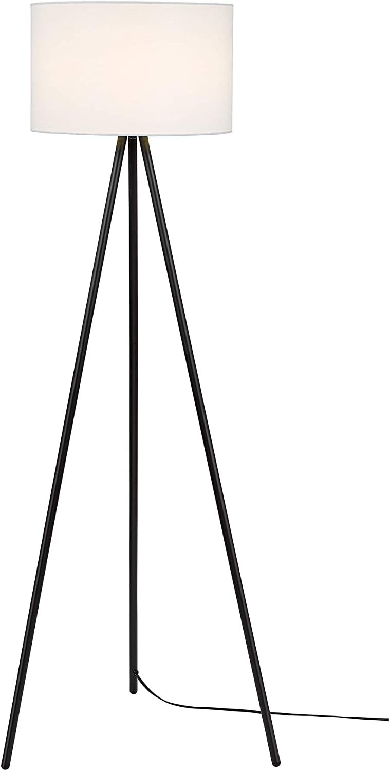 Catalina Lighting 19973-000 Modern Metal Tripod Floor Lamp with White Linen Shade for Living, Bedroom, Dorm Room, Office, 61.25 , Classic Black