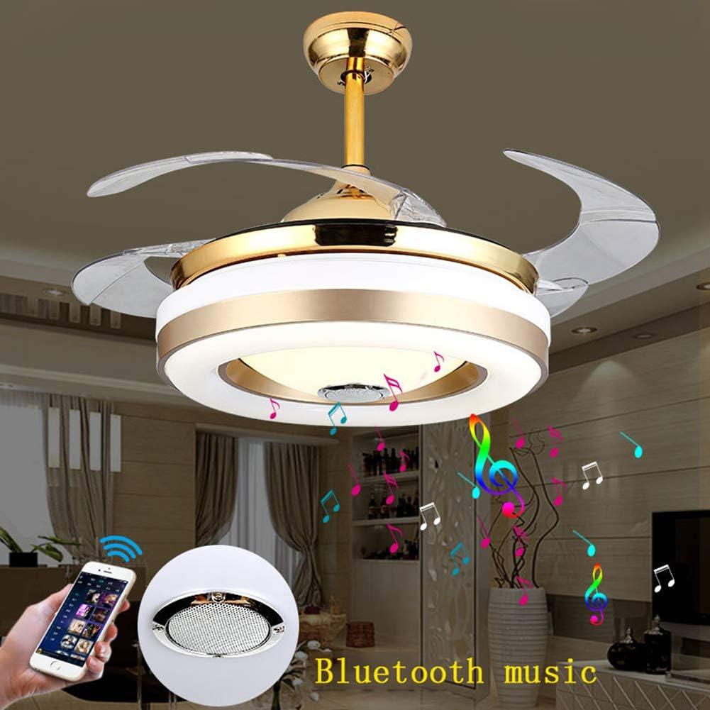 LAMP-XUE Ventiladores de Techo 42''Modern con Smart Bluetooth Ligero Reproductor de música de la lámpara 3 Colores Las Hojas Invisibles con Mando a Distancia, Kits Regulable LED