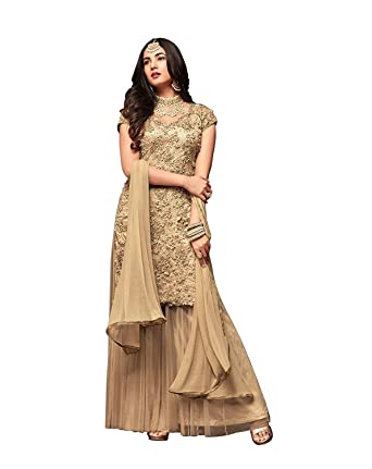 6eac0588f2 Women's Net Fabric Heavy Embroidered and Pearl Work Palazzo Suit (LNF198,  Cream, 3XL): Amazon.in: Clothing & Accessories
