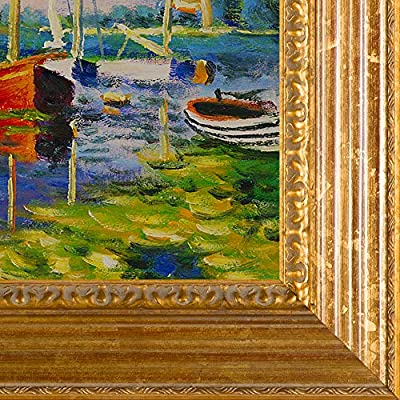 Gold Leaf Finish overstockArt Claude Monet Red Boats at Argenteuil with Vienna Wood Frame Oil Painting