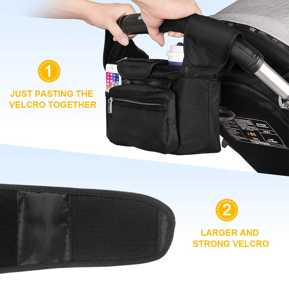 Baby Stroller Organizer Bag - Stroller Storage Bag with 2 XL Waterproof Leak-Proof Insulated Cup Holders and Large Detachable Zippered Clutch Bag for Universal Stroller Like Baby Jogger,Bugaboo by opamoo (Image #3)