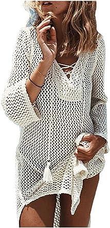 Nfashionso Women S Fashion Swimwear Crochet Tunic Cover Up Beach Dres Beige2 At Amazon Women S Clothing Store