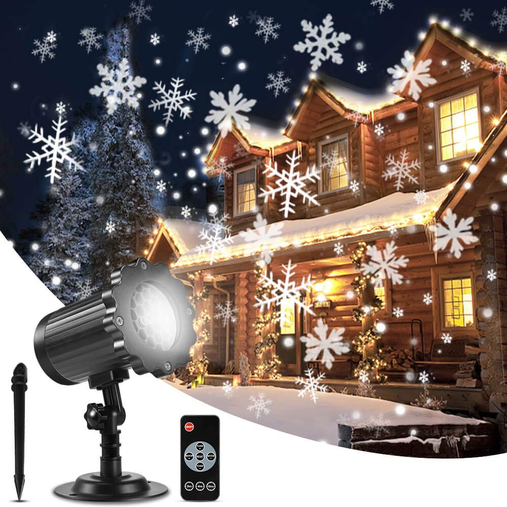 ALOVECO Christmas Snowflake Projector Lights, Upgrade Rotating LED Snowfall Projection Lamp with Remote Control, Outdoor Waterproof Sparkling Landscape Decorative Lighting for Halloween Xmas Party