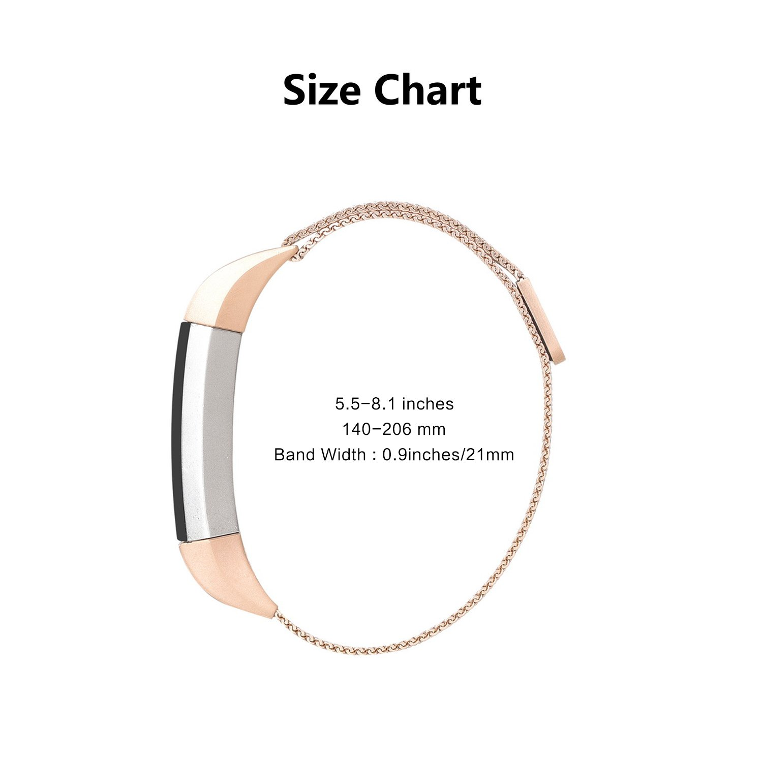 Fitbit Alta bands, MeanLove Milanese Stainless Steel Replacement Strap Bands for Fitbit Alta HR and Alta (Rose Gold, 5.5\