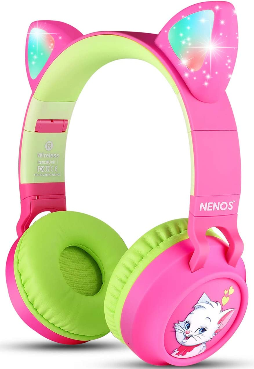 Nenos Bluetooth Kids Headphones Wireless Kids Headphones 93dB Limited Volume Wireless Headphones for Kids Pink Cat Ear