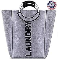 Seckon Waterproof Surface Big Laundry Bag Basket with Aluminum Handles