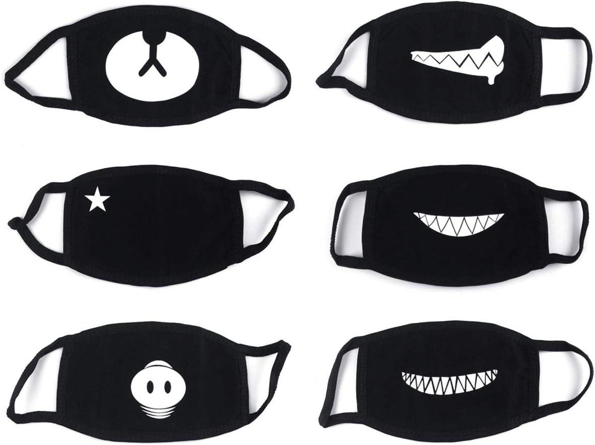 6 Piezas Algodón Máscaras Bicicleta Máscara Protección contra el Polvo Mask Suave Kawaii Cálido Máscara