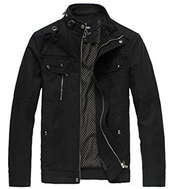Wantdo Mens Cotton Stand Collar Lightweight Front Zip Jacket Us Small Black