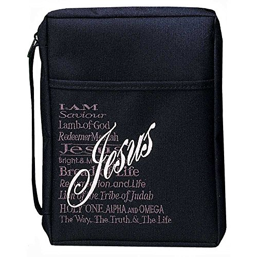 - Black Cross Reinforced Polyester Bible Cover Case with Handle, Large