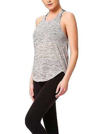 TAAMBAB Mujer Camisa Yoga con Espalda Abierta Top ...
