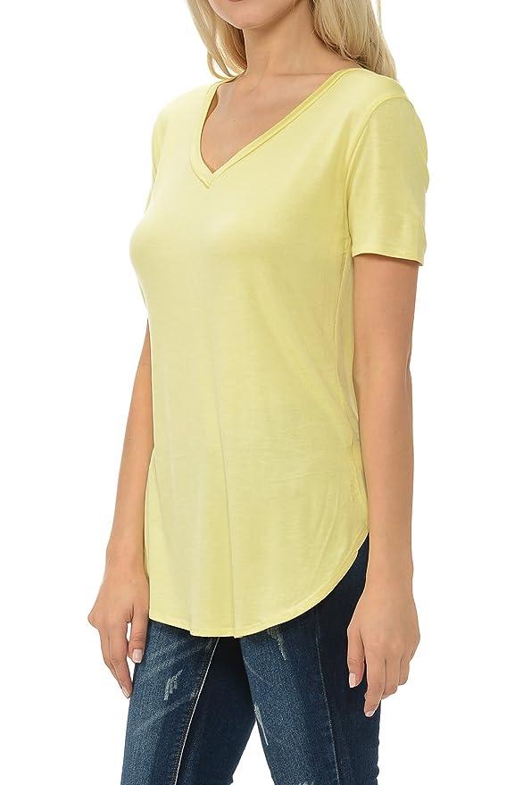 65e0e41363f Shamaim Womens V-Neck Modal & Rayon Short Sleeve Long T-Shirt Tunic Top at Amazon  Women's Clothing store:
