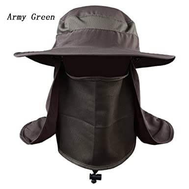 319dd0ee779 JTENGYAO Fashion Summer Outdoor Sun Protection Fishing Cap Neck Face Flap  Hat Wide Brim Army Green  Amazon.co.uk  Clothing