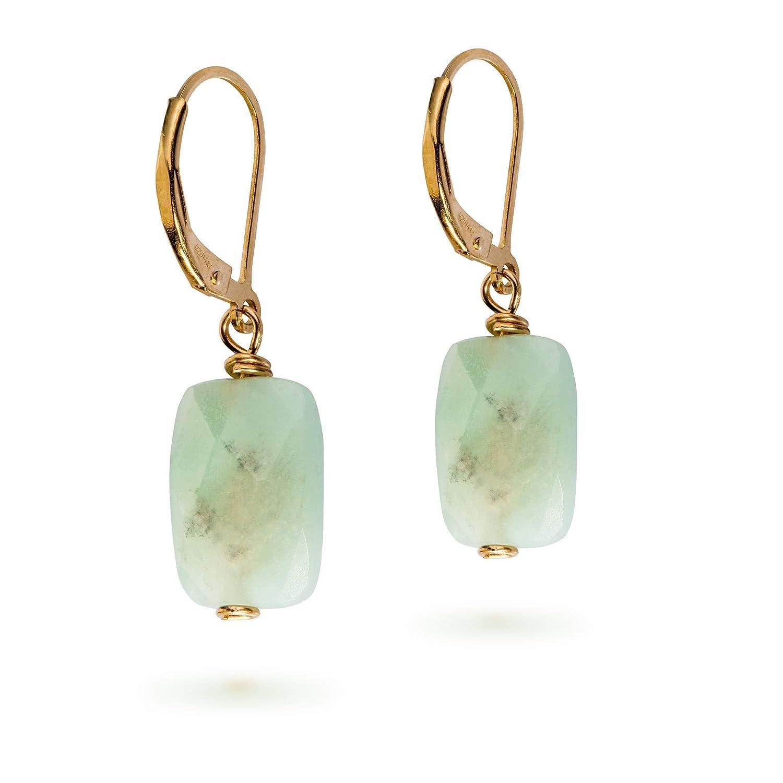 Amazonita cuelga piedra verde menta 14K oro lleno Pendientes Leverback