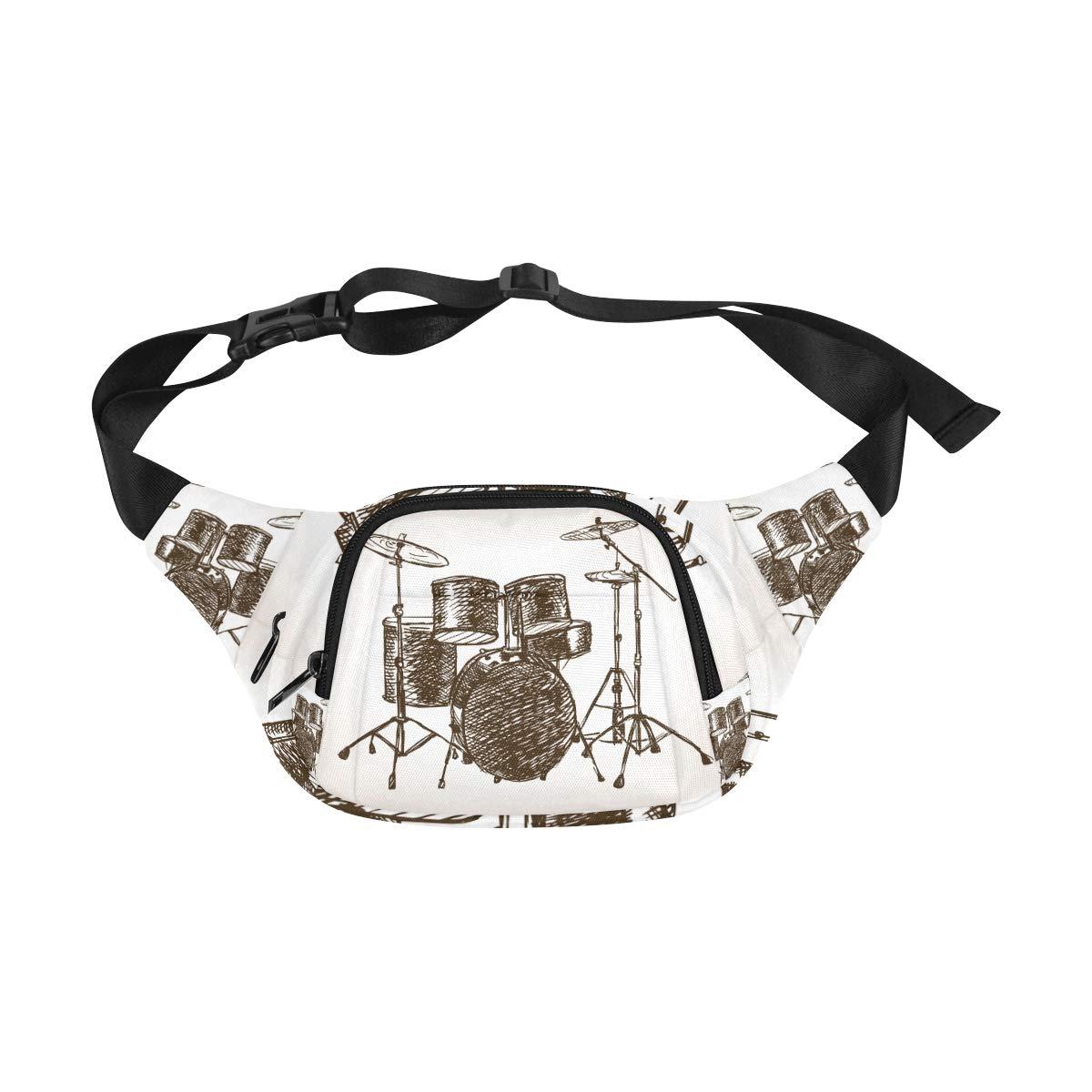 Hand Drawn Musical Drum Set Fenny Packs Waist Bags Adjustable Belt Waterproof Nylon Travel Running Sport Vacation Party For Men Women Boys Girls Kids