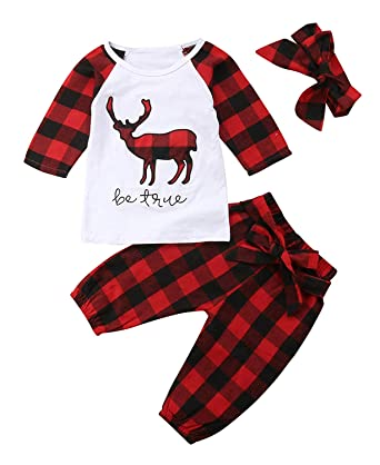 3aee77534c0b Baby Boys Girls Christmas Clothes Deer Applique Check Long Sleeve T-Shirt  Tops+Headband