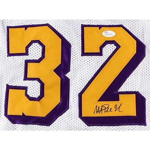 buy popular 6fa36 28ed8 Magic Johnson Autographed White/Gold Lakers Jersey JSA ...
