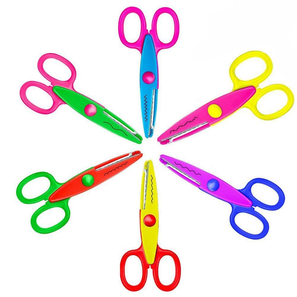 Niceshop Safe Paper Edging Scissors Colorful Decorative Paper Edge Scissors Scrapbooking Edger Scissors Art Creative Crafts Scissors Wave Edge Cutters Great for Teachers Students Kids Design (6 Pack)