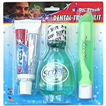 Dr Fresh Complete 3 in1 Dental Travel Kit with Crest (.85 Ounces), Scope Mouthwash (1.49 Ounces) & Travel Toothbrush