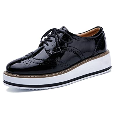 YING LAN Women's Platform Lace-Up Wingtips Square Toe Oxfords Shoe | Oxfords