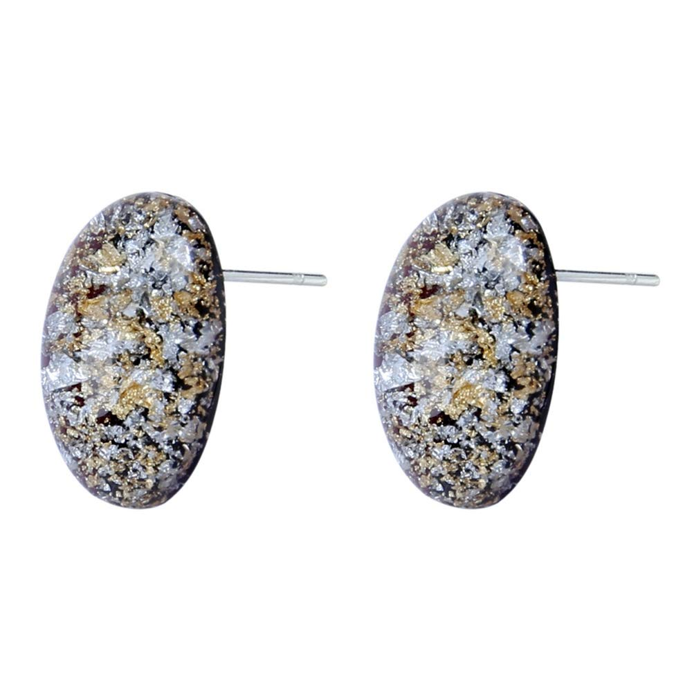 Stud Earring Gilt Space Dust Made With Resin /& Iron by JOE COOL