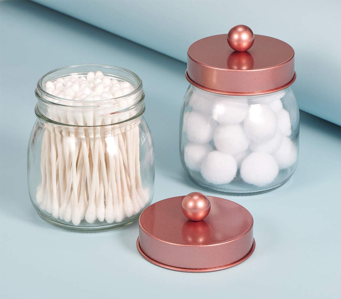 2 Pack Qtip Holder Canister Gold Bathroom Accessories Vanity Storage Organizer Glass for Qtips,Cotton Swabs,Ball,flossers,Hair Bands//Gold SheeChung Mason Jar Bathroom Apothecary Jars
