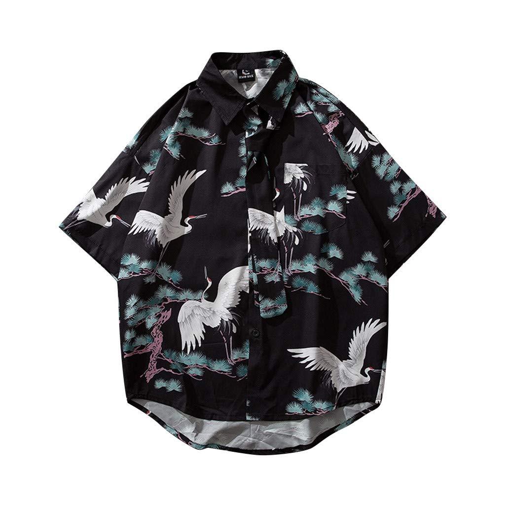 XuanhaFU Polo Camisa de Manga Corta Impresión de Grúa Japonesa de ...