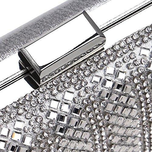 de noche embrague noche Bolso Bolso damas Silver noche de diamantes Black de Vestido de de de Bolso Color Bolso 1zqSw81