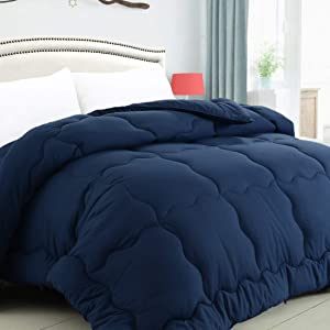 KARRISM All Season Down Alternative Queen Comforter, Summer Cooling Comforter Ultra Soft Quilted Duvet Insert with Corner Tabs, Wavy Box Stitched, Luxury Fluffy Lightweight (Navy, 88 x 88 inches)