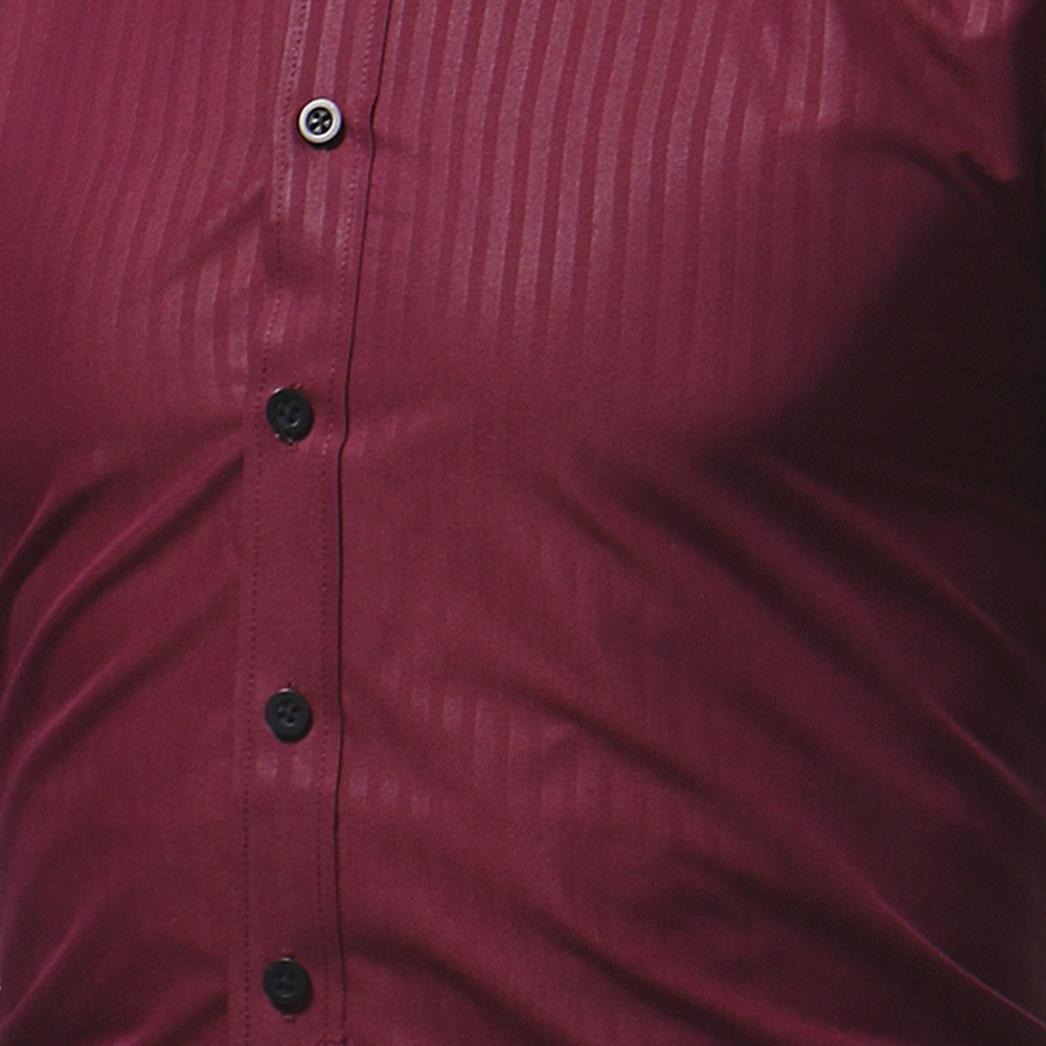 Ximandi Casual Men Shirt Long Sleeve Slim Fit Shirt Mens Striped Dress Shirts by Ximandi (Image #4)