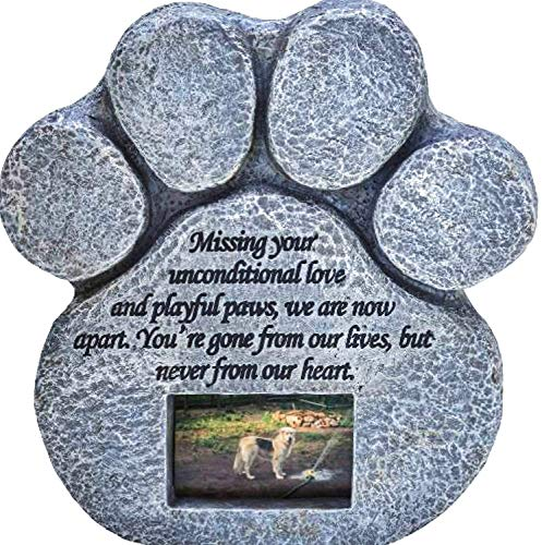 (Paw Print Pet Memorial Stone - Features a Photo Frame and Sympathy Poem - Indoor Outdoor Dog or Cat for Garden Backyard Marker Grave Tombstone - Loss of Pet Gift)