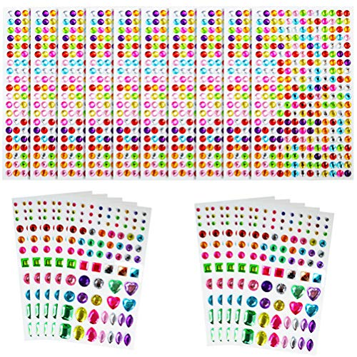 obmwang 3410 Pieces Self Adhesive Rhinestone Stickers Craft Jewels Crystal Gem Stickers for Nail, Phone Case, Festival Card Photo Decoration DIY Assorted Shapes and Colors, 20 Sheets