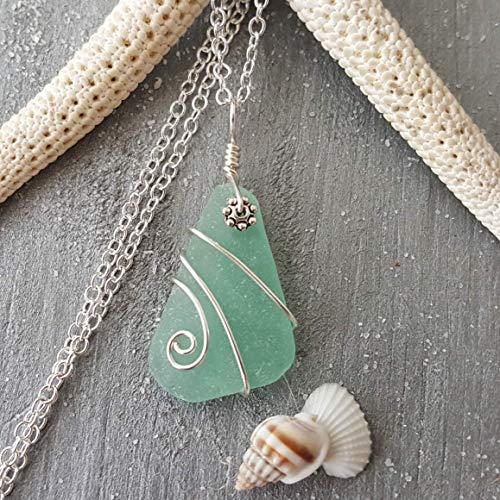 "Genuine surf tumbled sea glass, rare wire wrapped aqua beach glass sea glass necklace,""March Birthstone"", sterling silver chain,sea glass jewelry."