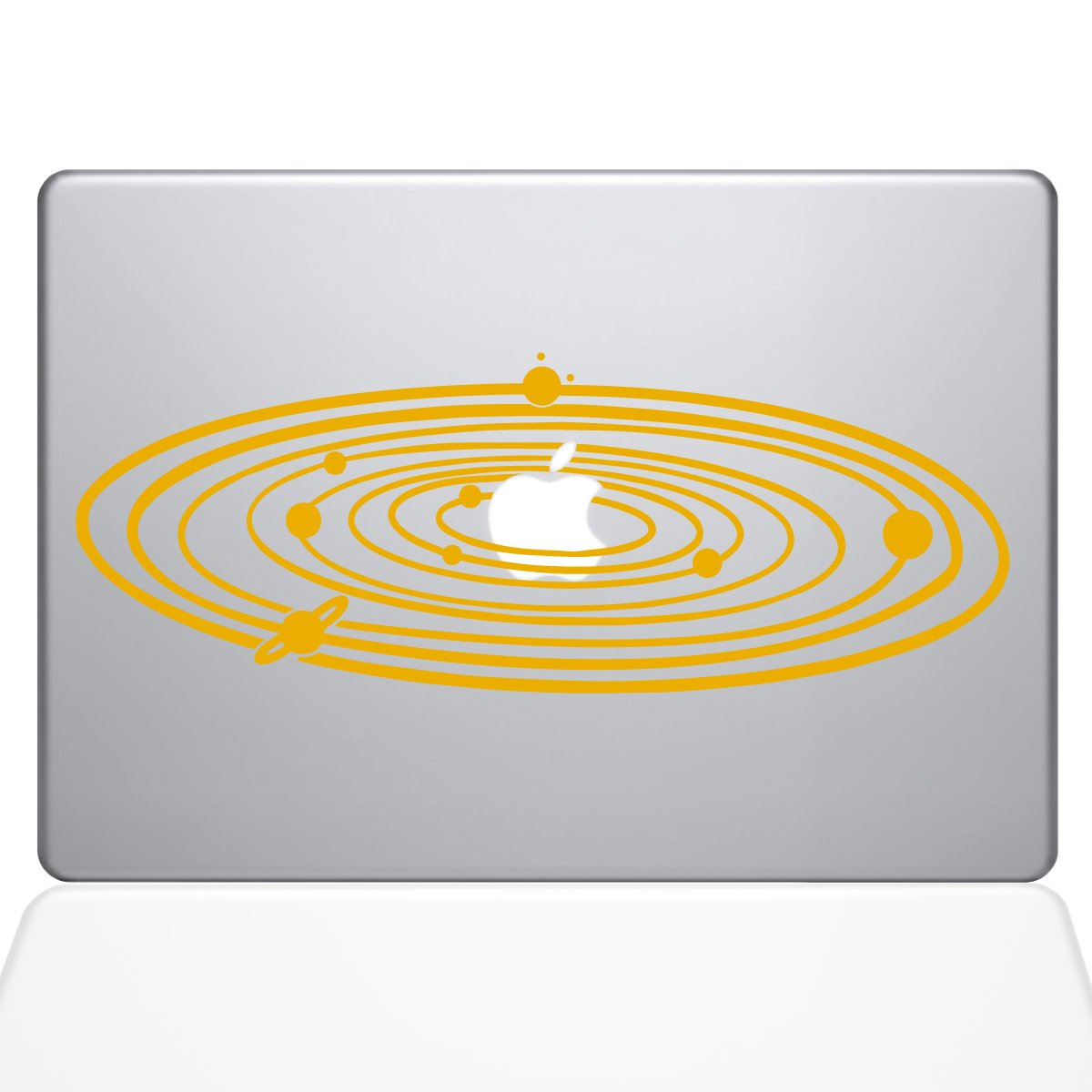 The Decal Guru 2067-MAC-12M-SY Solar System Decal Vinyl Sticker, Yellow, 12'' MacBook