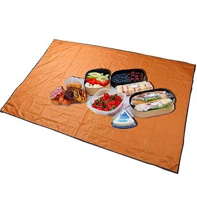 ????❤Outdoor Picnic Mat????❤Lolittas Tapis De Camping ImperméAble à L'Eau Extra-Large Couverture Pique-Nique Voyage (Orange)