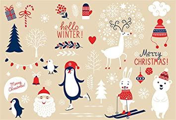 Mehofoto Cute Cartoon Merry Christmas Decoration Picture Backdrop Winter Snow Animals Printed Fabric Photography Background Wallpaper Christmas
