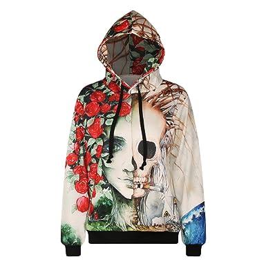 Giles Jones Womens 3D Skull Rose Printed Hooded Pullover Long Sleeve Sweatshirt Blouse Plus Size