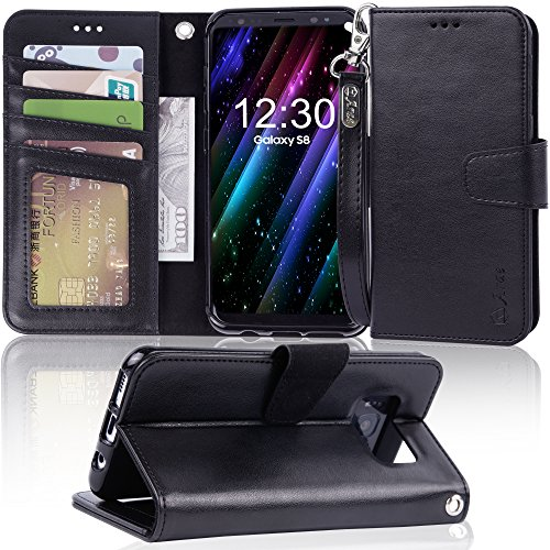 Galaxy s8 Case, Arae [Wrist Strap] Flip Folio [Kickstand Feature] PU Leather Wallet case with ID&Credit Card Pockets for Samsung Galaxy s8 (NOT for Galaxy s8 Plus), (Black) by Arae