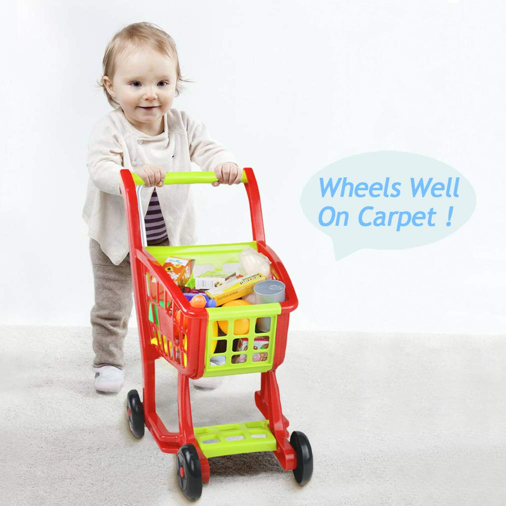 Fajiabao Kids Shopping Cart Toy Play Grocery Cart Trolley Supermarket Pretend Playset with 27 PCS Fruits Vegetables Food for Toddler Child Boys Girls 2 3 4 5 6 Years Old by Fajiabao (Image #5)