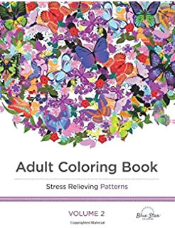 Adult Coloring Book Stress Relieving Patterns Blue Star Coloring