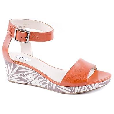 a026b56b7 Ladies Clarks Ornate Jewel Orange Wedge Sandals Size 8  Amazon.co.uk ...