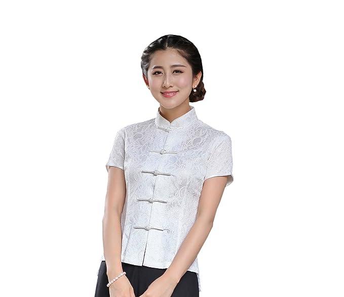 YueLian Mujeres Encaje Retro de Dos Capas Manga Corta Traje Chino Top Blusa Blanco (42