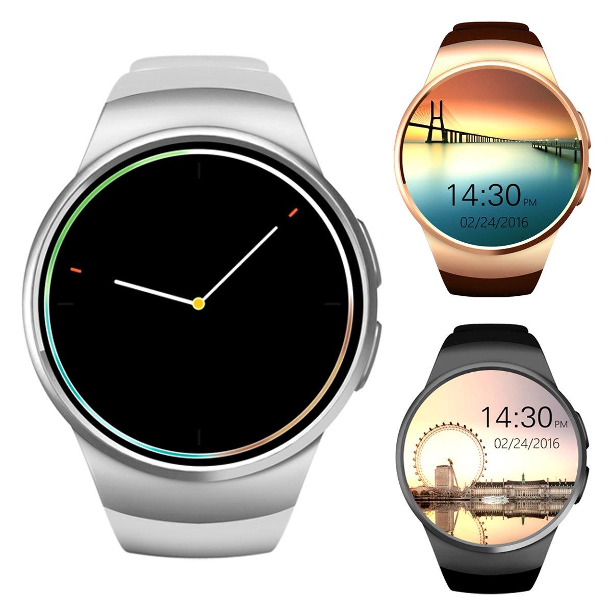 Bluetooth Smart reloj teléfono, Ronda de 1,3 pulgadas IPS pantalla táctil resistente al agua reloj teléfono con tarjeta SIM/TF tarjeta, monitor de sueño, ...