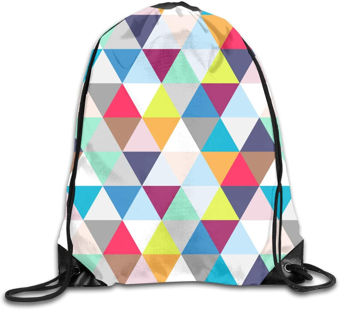 CoolStuff Travel Shoe Bags,Triangle Multicolour Triangle Pattern Drawstring Backpack Hiking Climbing Gym Bag,Large Big Durable Reusable Polyester Footwear Protection